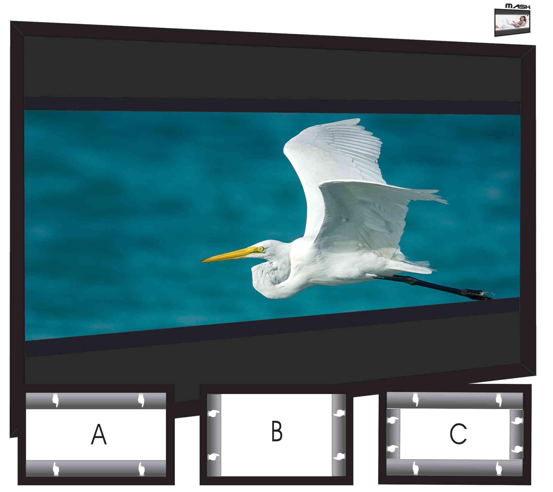 changement automatique des formats écran tendu sur cadre fixvision multivision